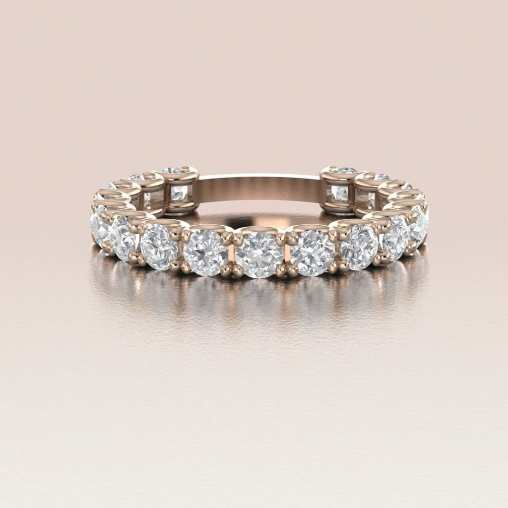 14K Rose Gold White Sapphire Eternity Wedding Band