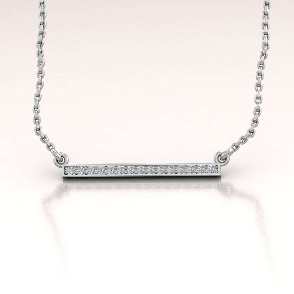 14K White Gold Horizontal Bar Necklace with White Diamonds