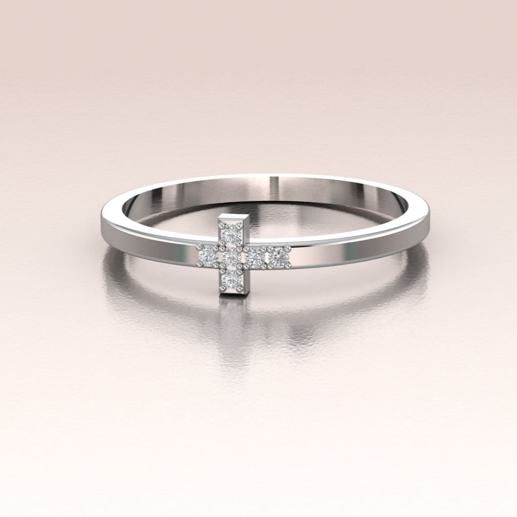 14K White Gold Mini Diamond Cross Ring