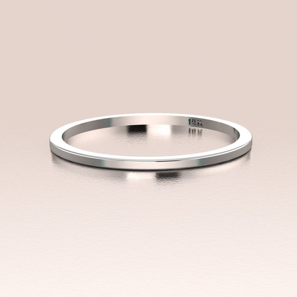 14K White Gold Plain Band