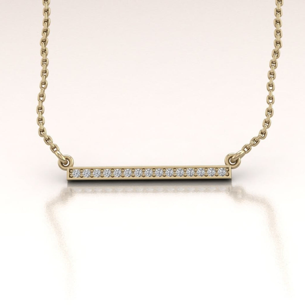 14K Yellow Gold Horizontal Bar Necklace with White Diamonds