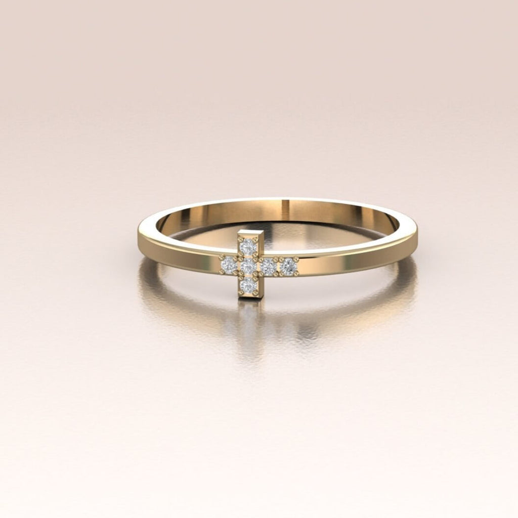 14K Yellow Gold Mini Diamond Cross Ring
