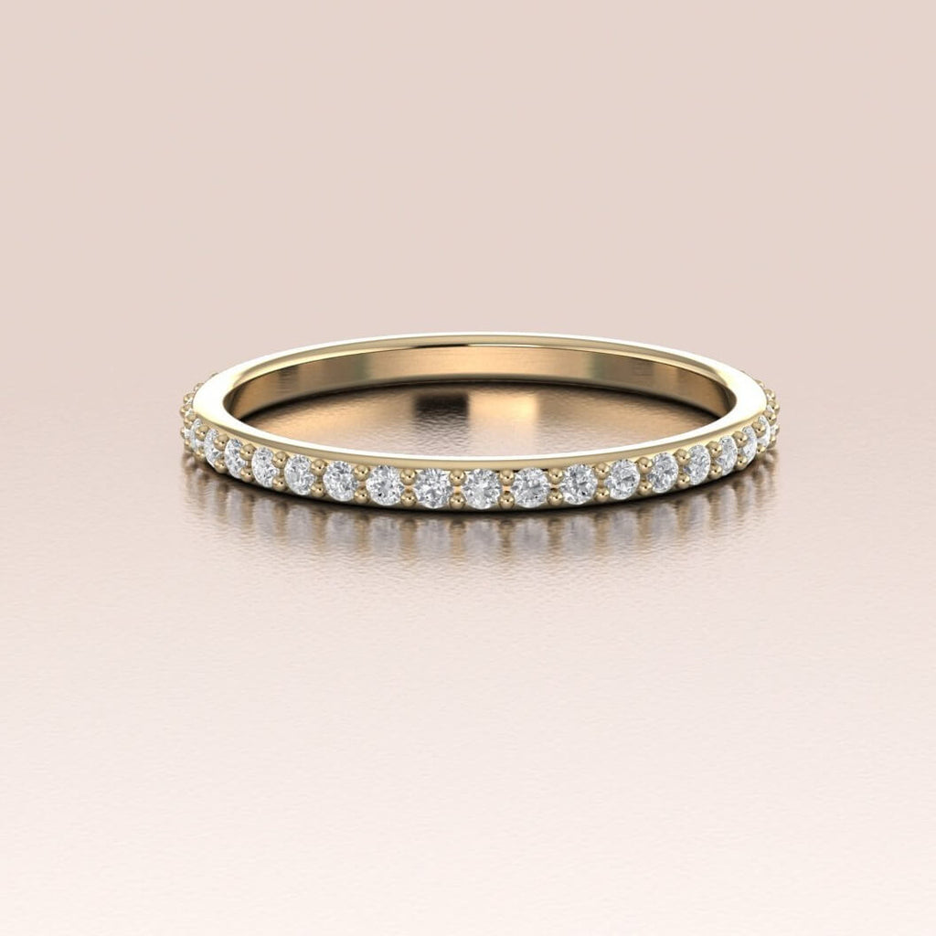 14K Yellow Gold White Diamonds Pave Band