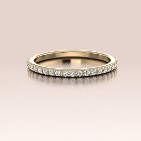 14K Gold White Diamonds Pave Band