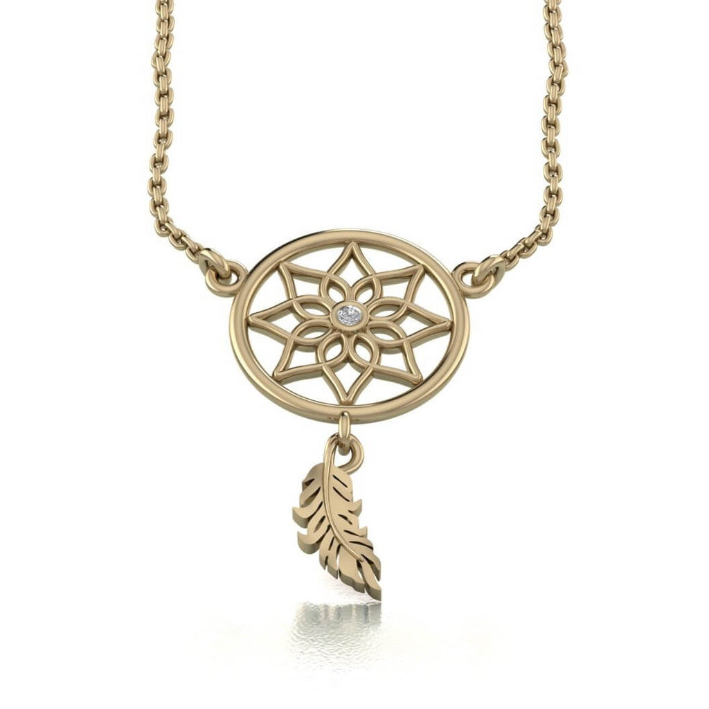14K Yellow Gold Dreamcatcher Necklace White Diamond