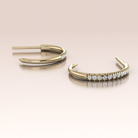 14K Gold Diamond Claw Hoop Earrings