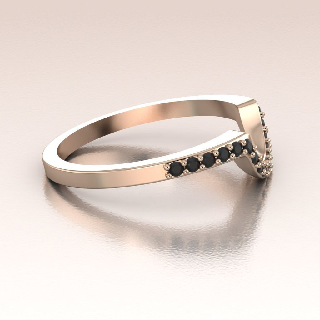 14K Rose Gold Curved Band Black Diamonds Pave Band