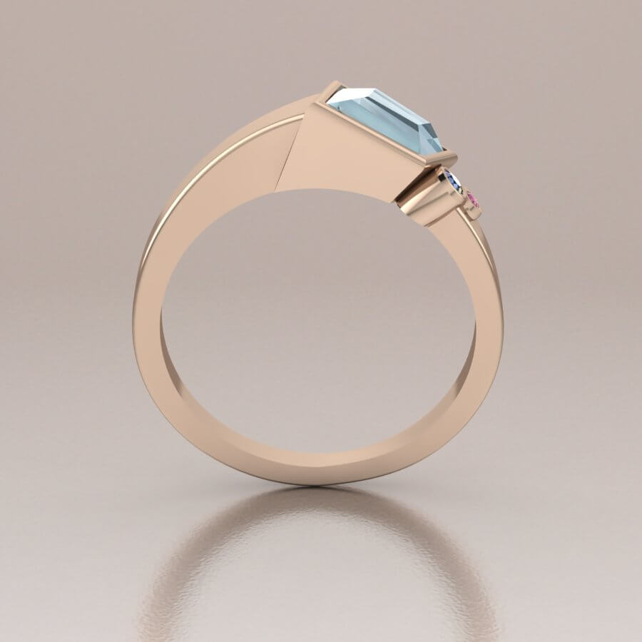 Rose Gold Aquamarine Ring Unique One of a Kind Art Deco