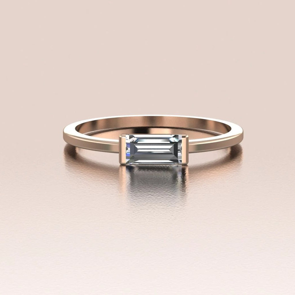 14k Rose Gold Tiny Sideways Horizontal Crystal Baguette Ring