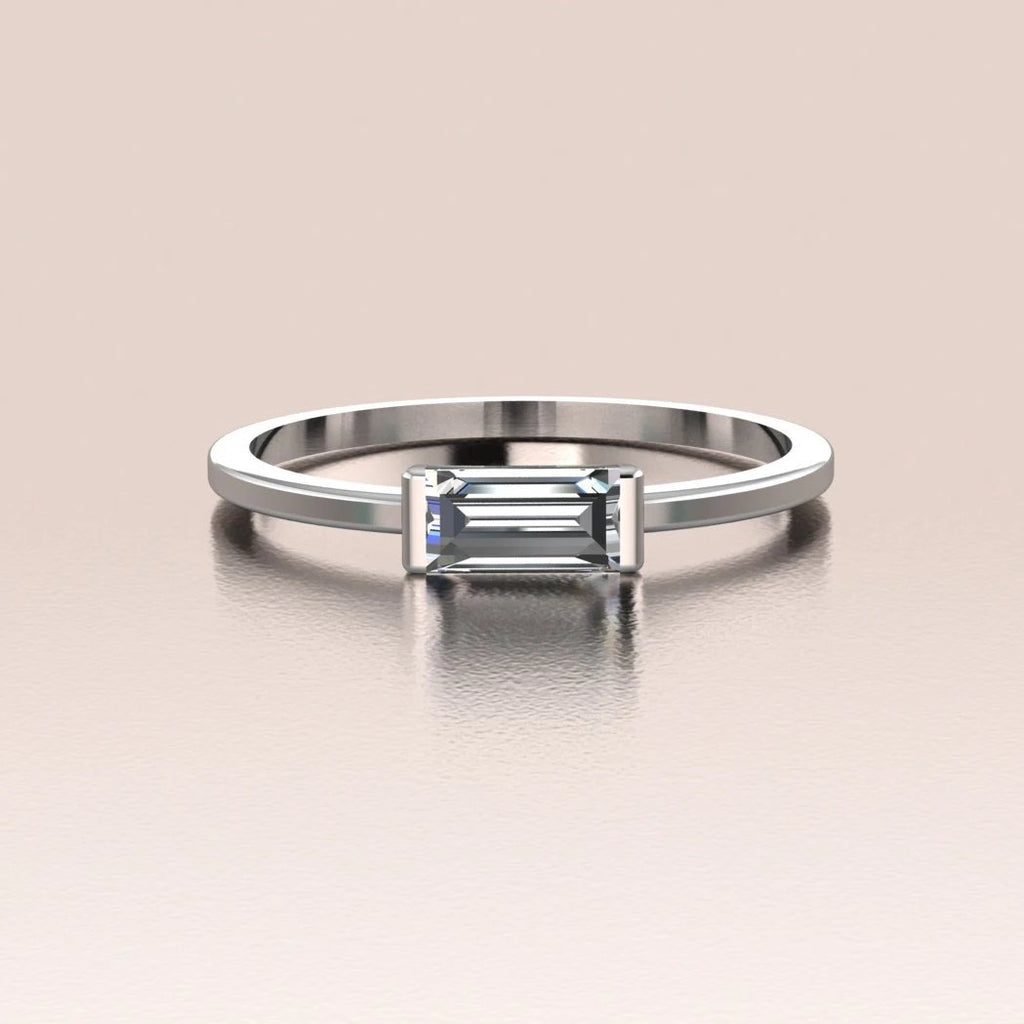 14k White Gold Tiny Sideways Horizontal Crystal Baguette Ring
