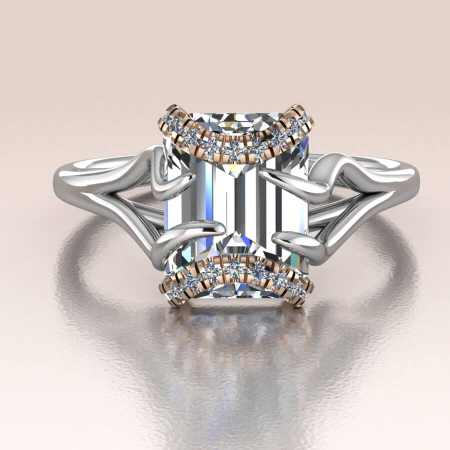 White Gold Emerald Cut Diamond Moissanite Engagement Ring