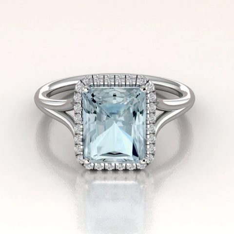 DAHLIA - 14K White Gold Aquamarine Emerald Cut Diamond Halo Engagement Ring