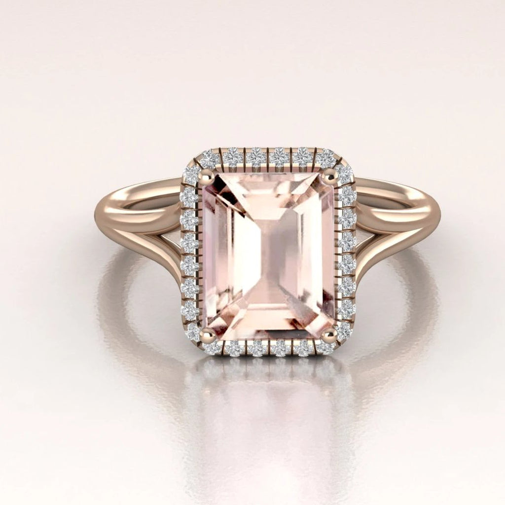 14K Rose Gold Morganite Emerald Cut Diamond Halo Engagement Ring