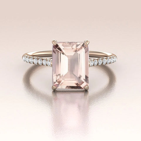 LIONNA - 14K Rose Gold Emerald Cut Morganite Engagement Ring with Diamonds