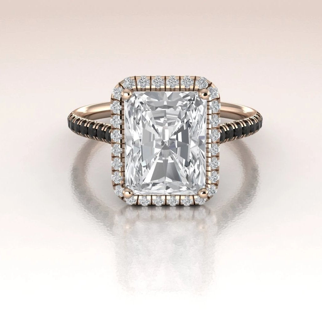 Rose Gold Moissanite Engagement Ring 14k Emerald Cut Ring With Diamond Halo Antoanetta