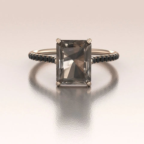 14K Rose Gold Emerald Cut Smoky Quartz Engagement Ring