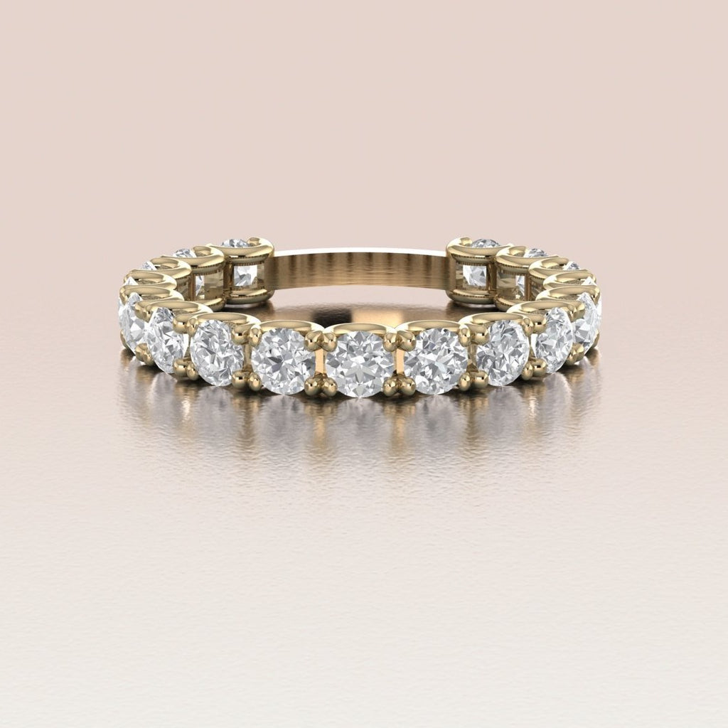 14K Yellow Gold White Sapphire Eternity Wedding Band
