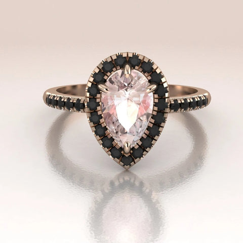 14K Rose Gold Pear Morganite Black Diamonds Halo Engagement Ring