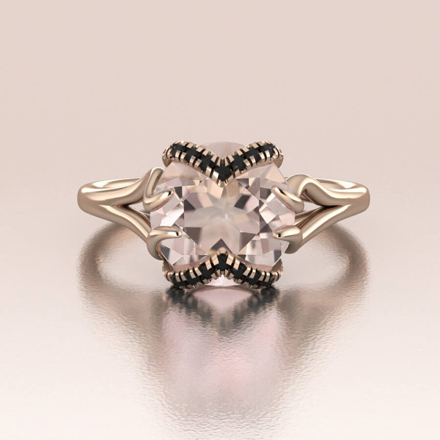 Round Morganite Black Diamonds Engagement Ring
