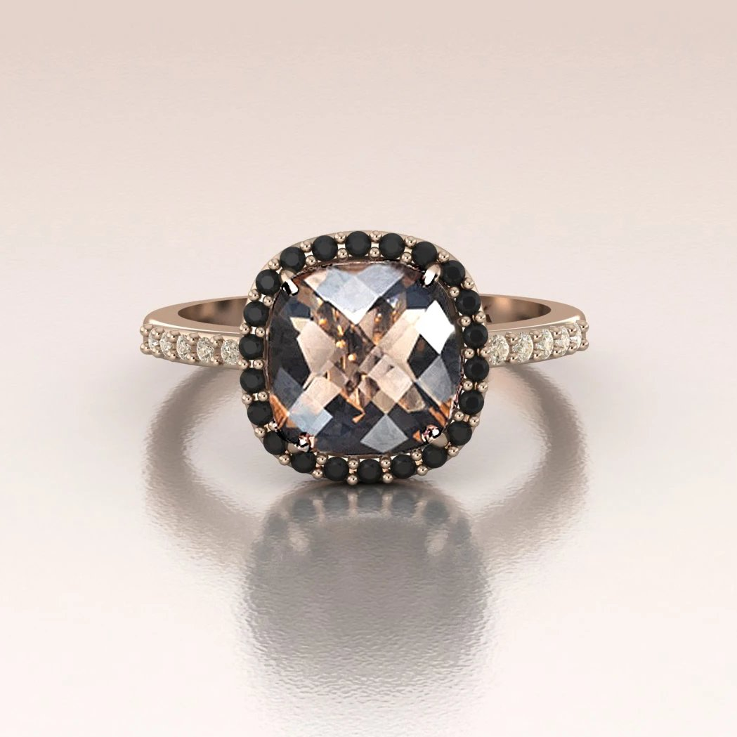 Rose Gold Smoky Quartz Cushion Engagement Ring With Black