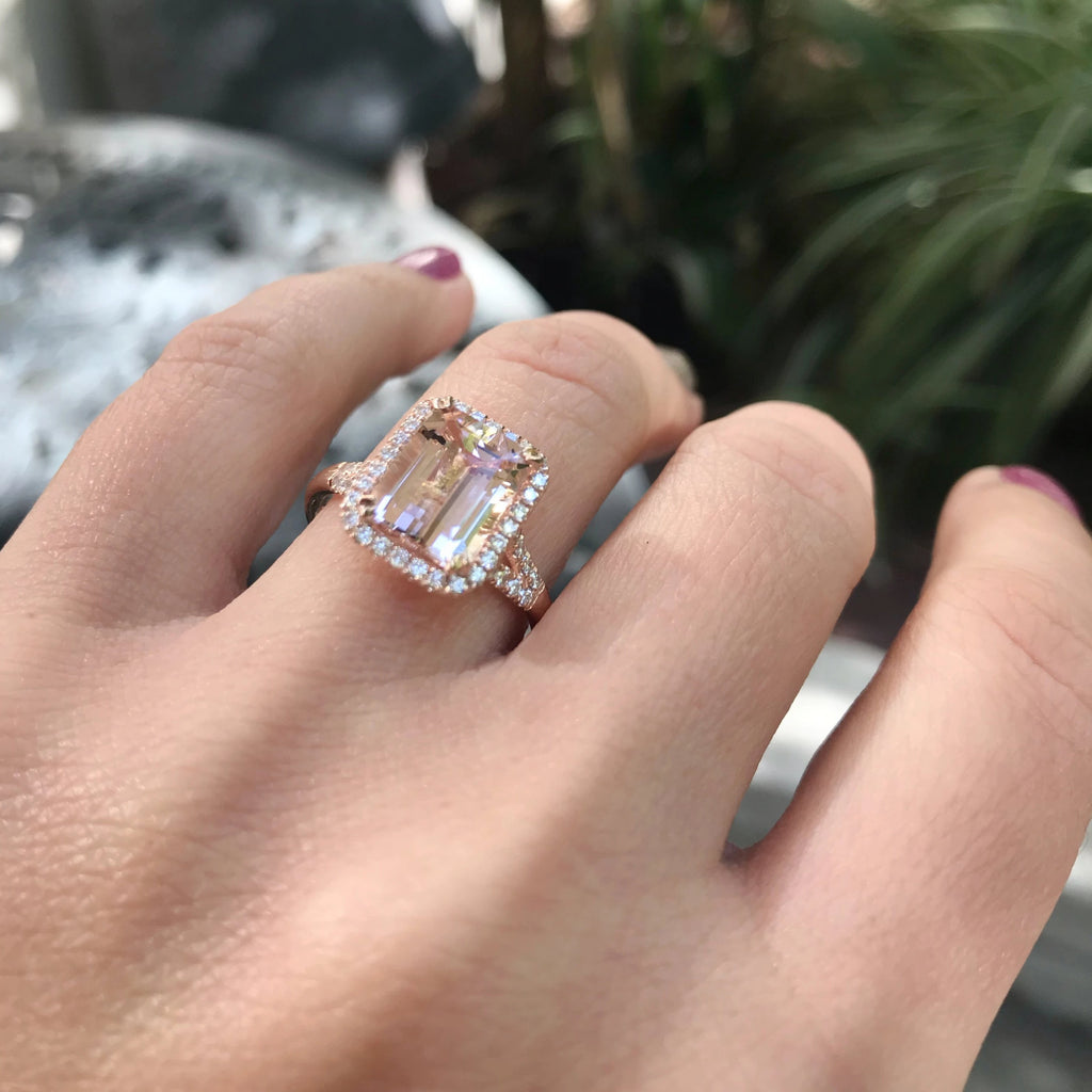 14K Rose Gold Emerald Cut Morganite Diamond Halo Engagement Ring Split Shank