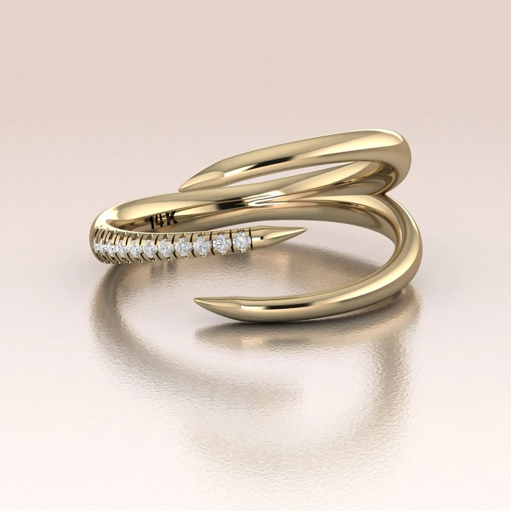 14K Yellow Gold Claw Ring with White Diamonds