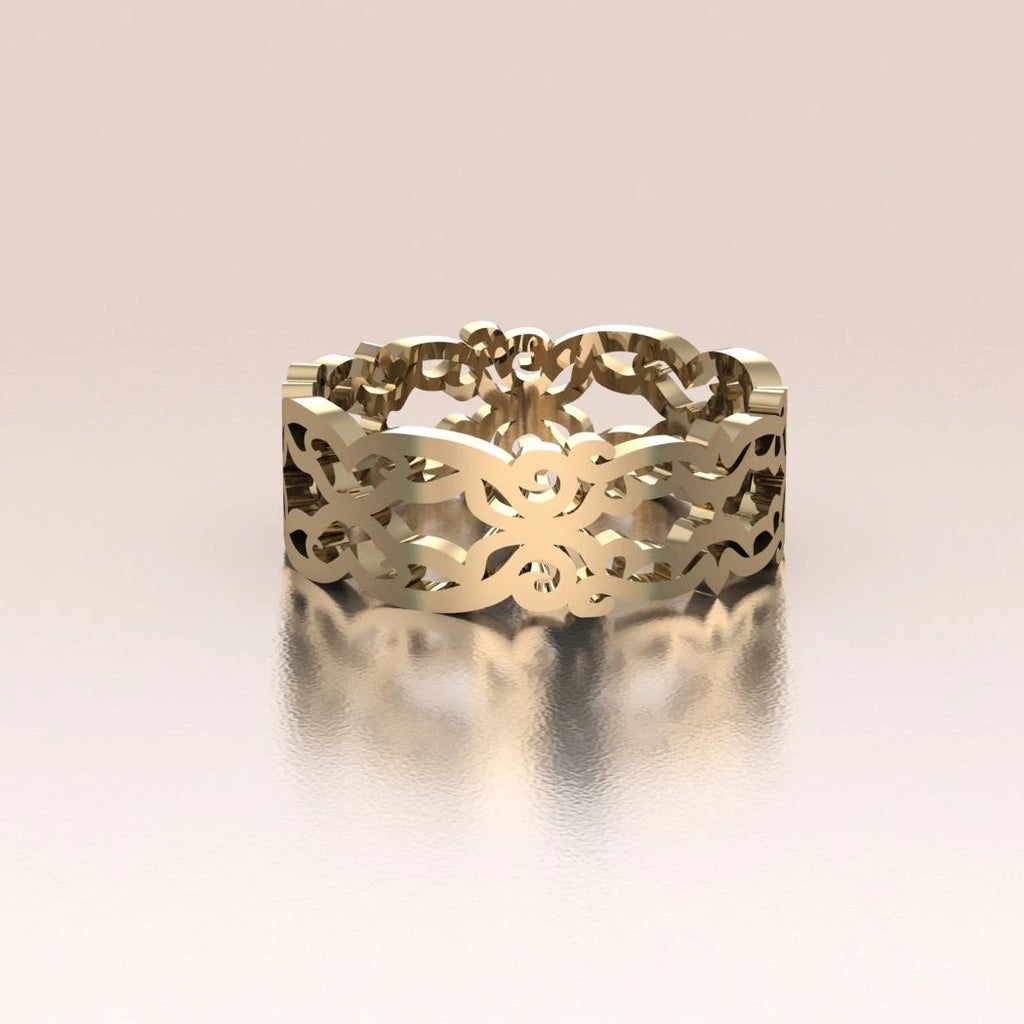 14K Yellow Gold Ornate Vintage Lace Band