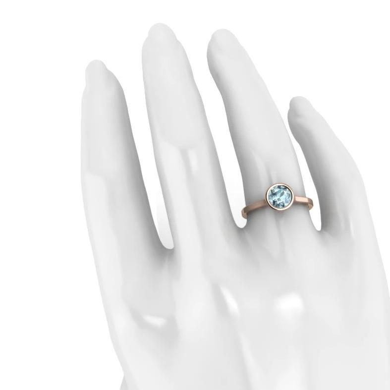 Details about  /1 ct Round Solitaire Classic Stud Natural Aquamarine Earrings 14k Rose Pink Gold