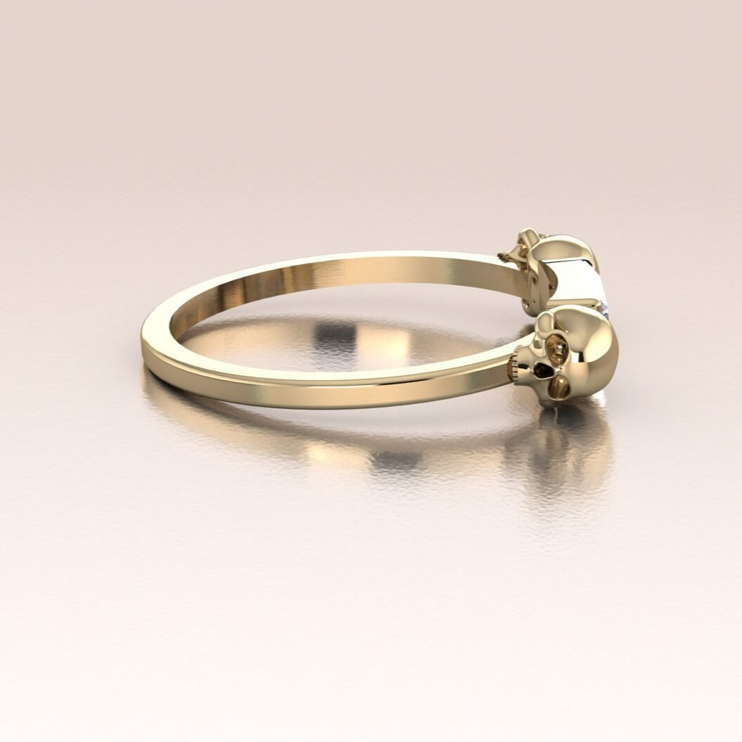 14K Gold Double Infinity Skull Ring