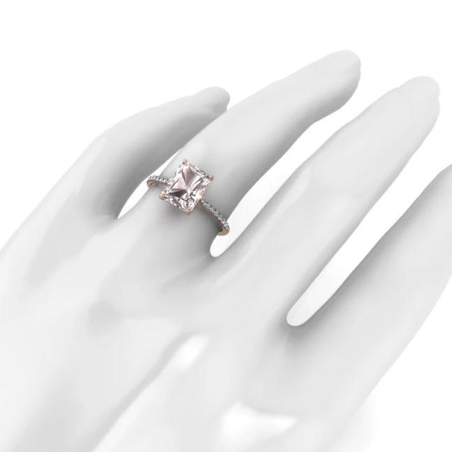 14K Rose Gold Emerald Cut Morganite Engagement Ring with Diamonds - ANTOANETTA