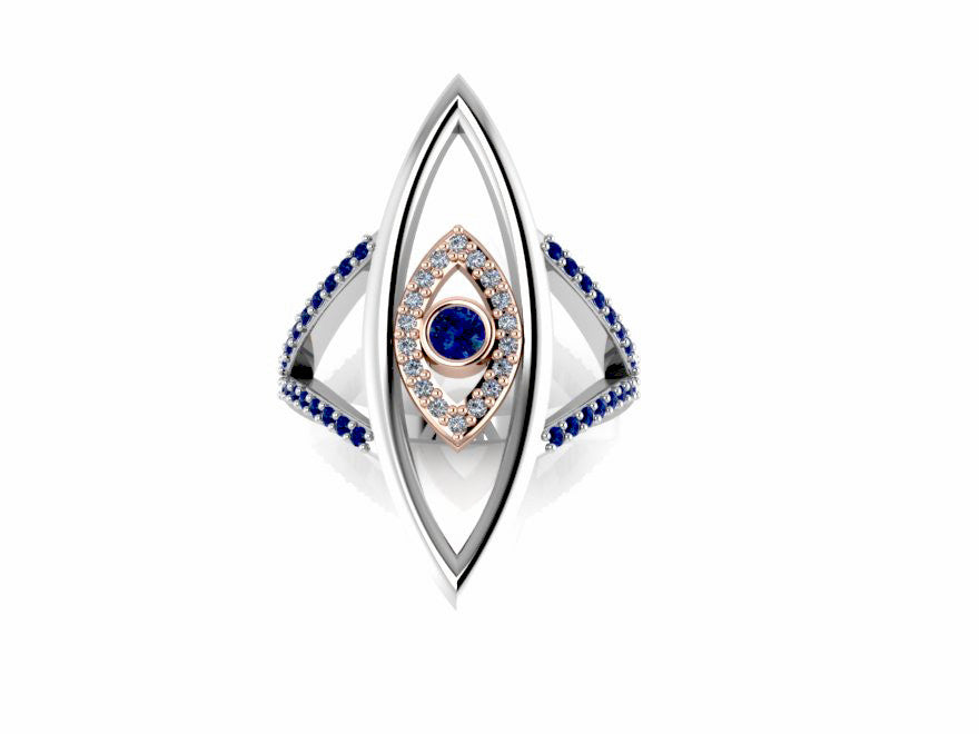 Double Evil Eye Ring 14K White and Rose Gold with Blue Sapphires White Diamonds