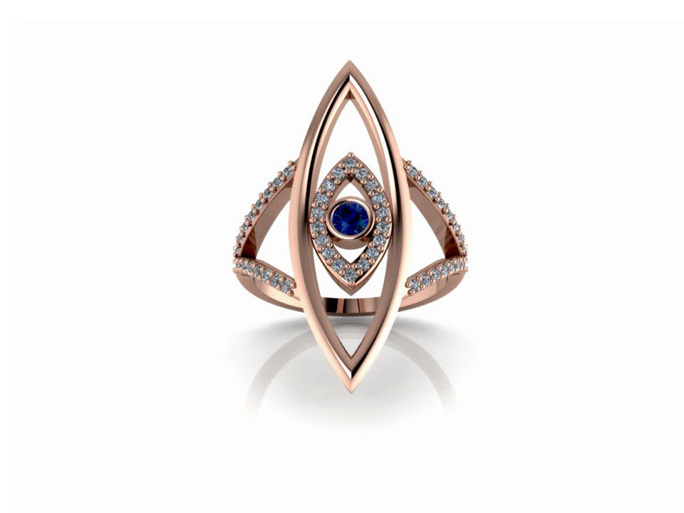 Double Evil Eye Ring 14K Rose Gold with Blue Sapphire White Diamonds
