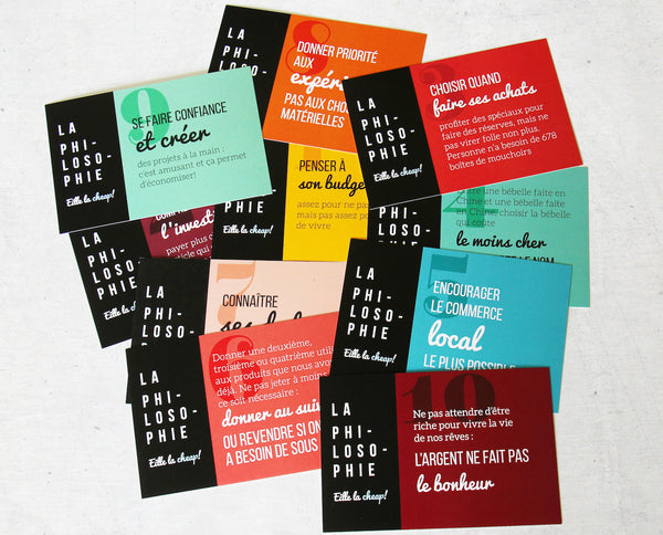 Ensemble de cartes postales Philosophie Eille la cheap!