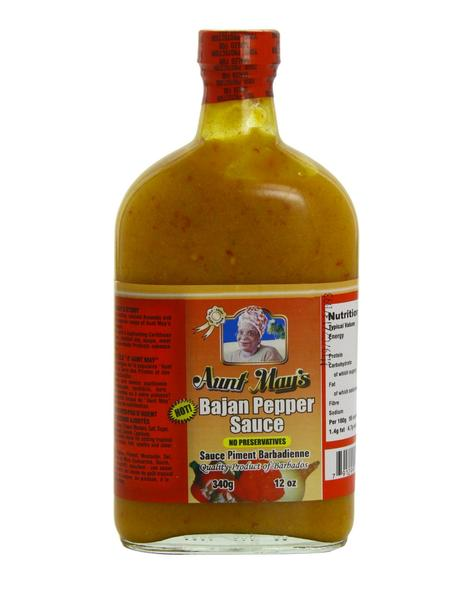 <b>AUNT MAY'S</b><br>Hot Bajan Yellow Pepper Sauce