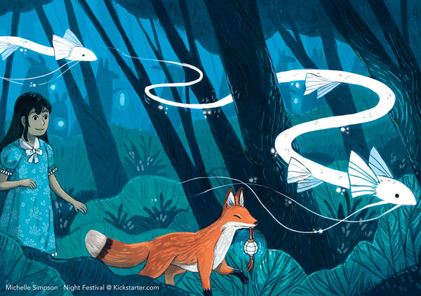 Girl led through a forest by a fox - from 'Night Festival: A Wordless Picture Book'