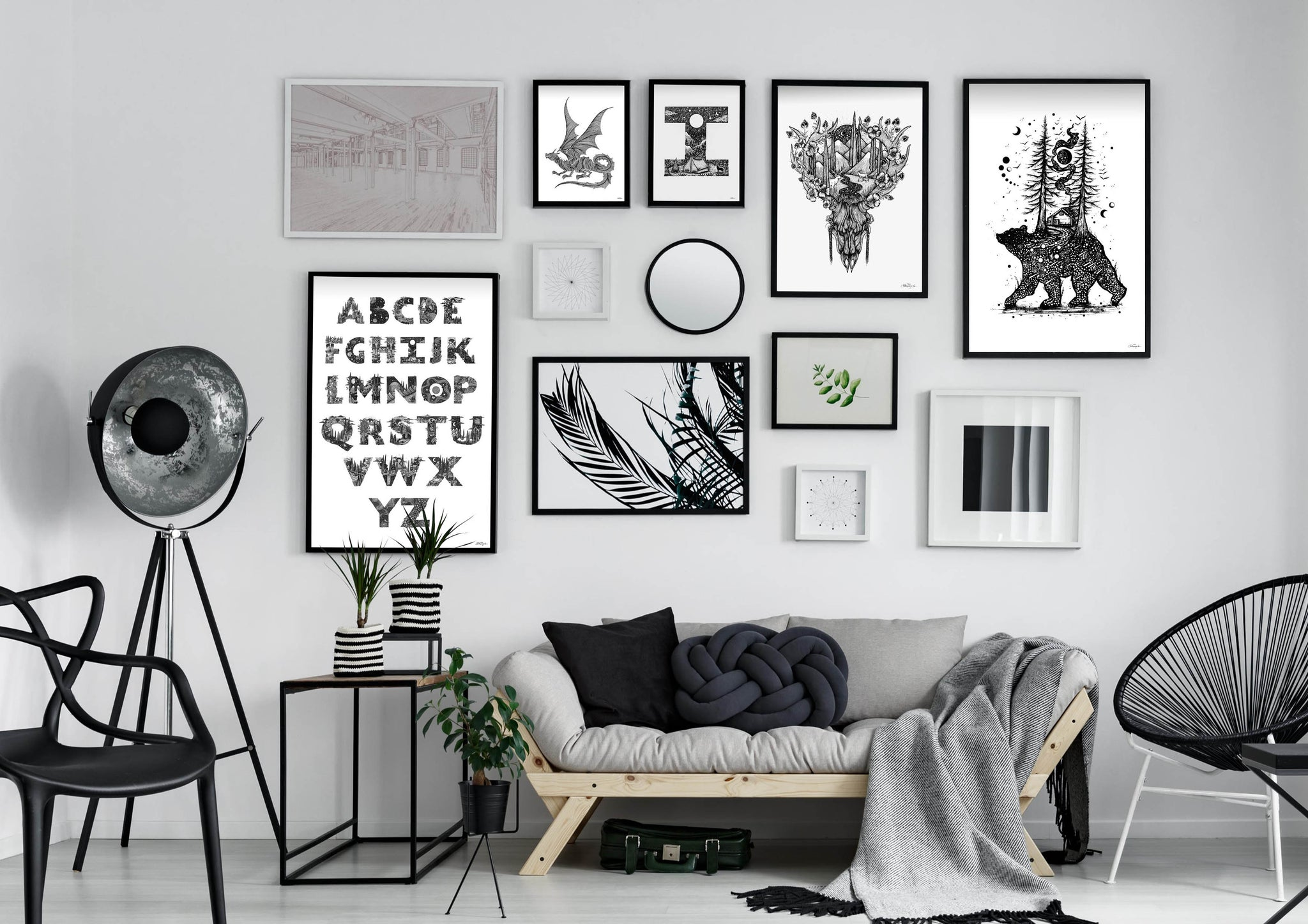 Gallery Wall built around Meni's Artwork - View full collection here