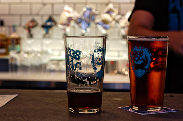 Brewdog bar - one pint nearly finished (left) and another untouched (right)