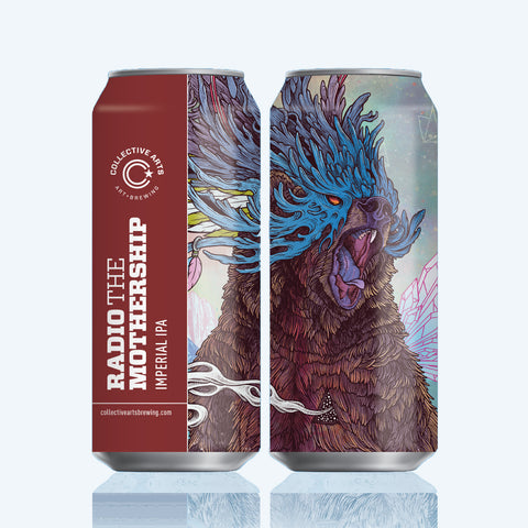 Illustrate x Collective Arts Brewing Beer Cans featuring 'Journeying Spirit Bear' design by Mat Miller