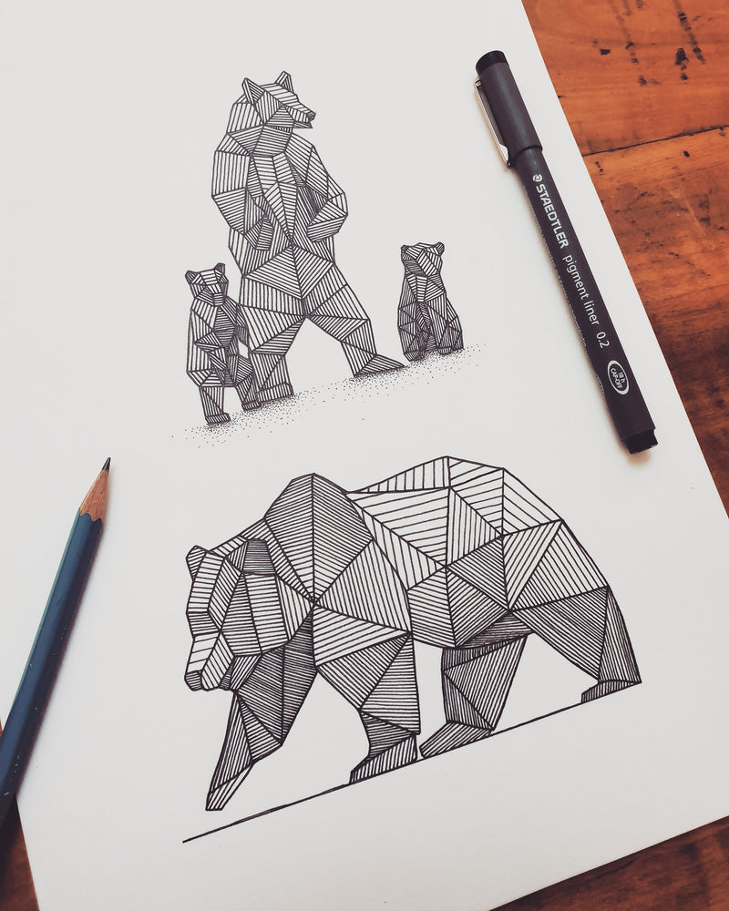 Geometric Grizzly Study Original