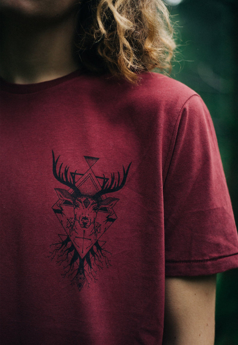Minimalistic Stag T-Shirt (Grey, Burgundy, White)