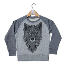 Grey Wolf Raglan Kids Sweat