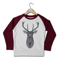 The Stag Contrast Raglan Kids Sweat