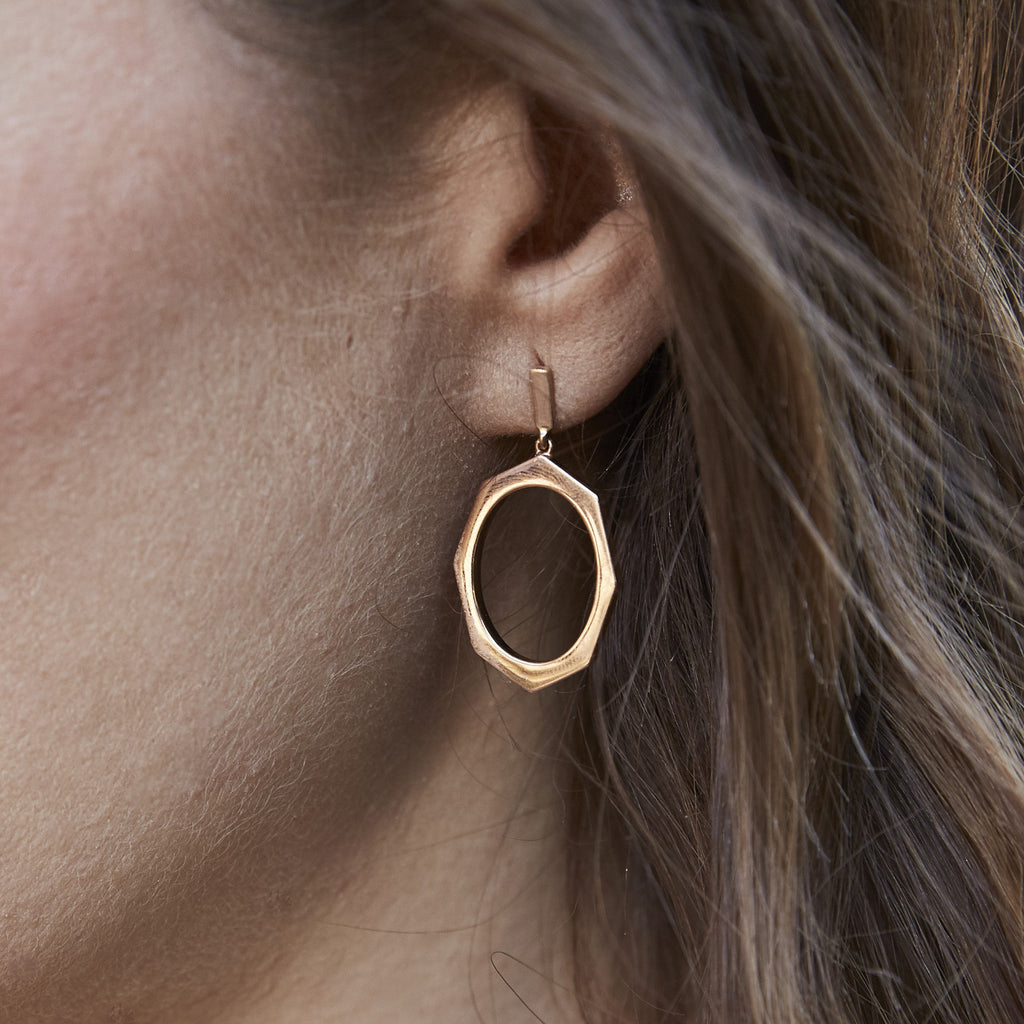 Rose Gold Drop Earrings Displayed on Ear By Irthly