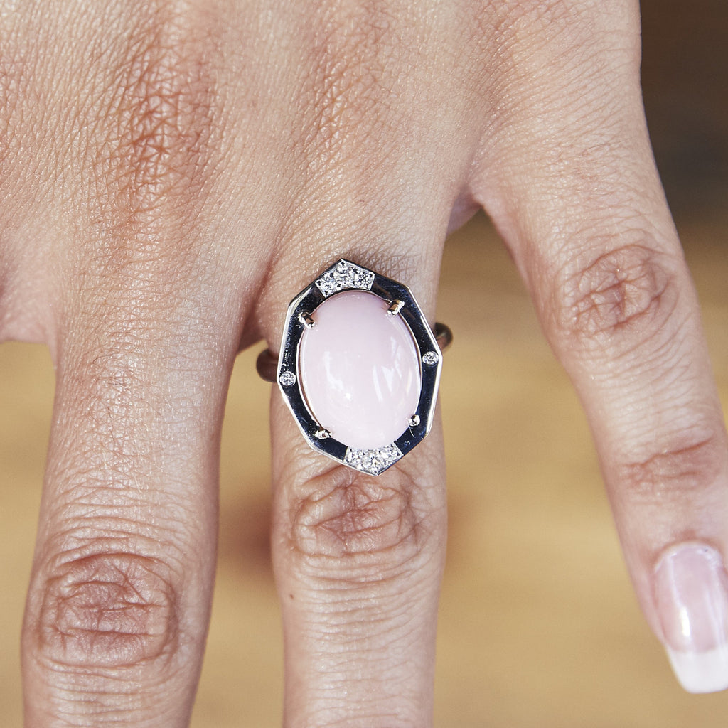 Peruvian Pink Opal Diamond Ring in White Gold Displayed on Finger By Irthly