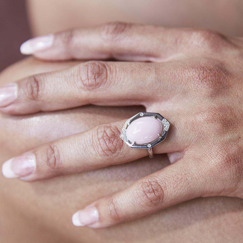 Peruvian Pink Opal Diamond Ring in White Gold Displayed on Finger2 By Irthly