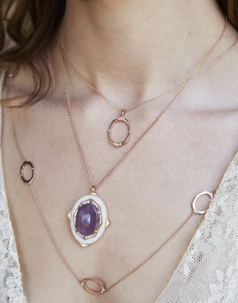 Oval Diamond Gold Pendant with Chalcedony Center | Affinity Series | Irthly