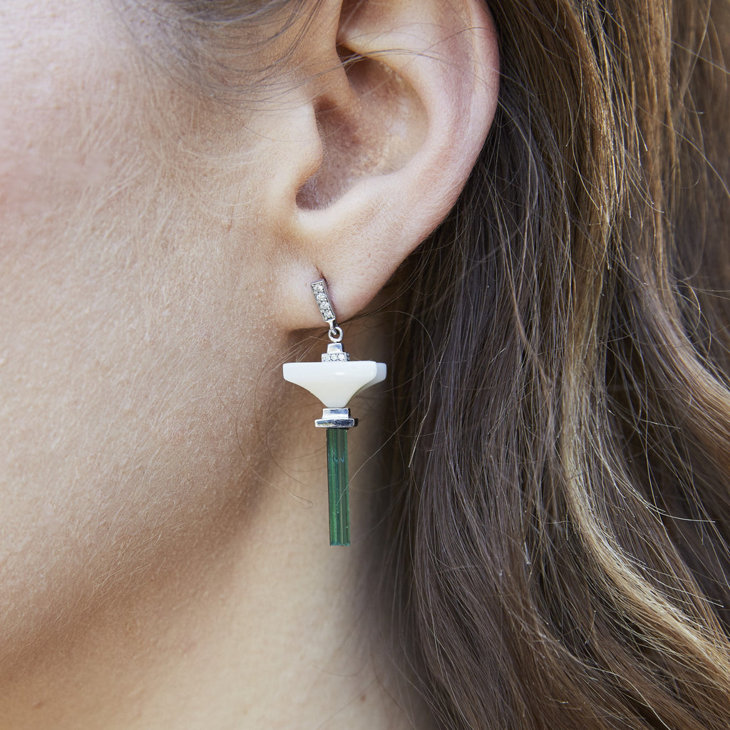 Art D'Eco Small Terminals Diamond and Tourmaline Earrings in 18k Gold Jewelry- Single Layer