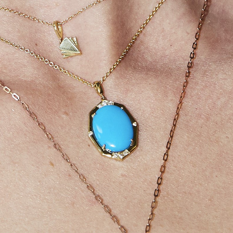 Small Diamond Pendant With Turquoise Center in Gold Jewelry-Affinity Sans Series