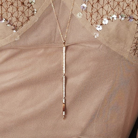Long Diamond Necklace in Rose Gold By Irthly