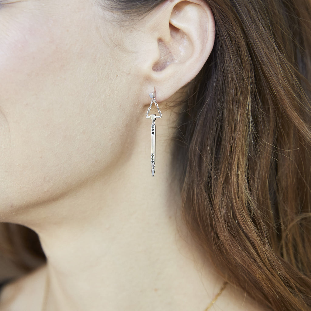 Small Diamond Bar Dangle Earrings With Spikes in White Gold On Model By Irthly